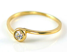 9ct Yellow Gold Rubover Solitaire Engagement Ring with Created Diamond