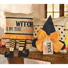 Mud Pie Halloween Home Decor Witch Legs or Witch Hat Burlap Pillow Wrap