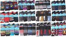 12 Pairs Of Mens Designer Socks, Cotton Rich Lycra Design Socks, Size 6-11