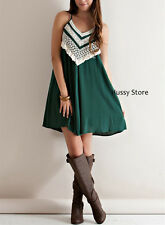 Entro USA Halter Dress Crochet Lace Boho Green Racer Strappy Back S-M-L New