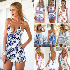 Sexy Women V Neck Celeb Playsuit Floral Romper Beach Summer Dress Short Jumpsuit