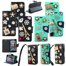 Hybrid Bling Leather Flip Wallet Stand Case Cover For Nokia Microsoft Lumia 640