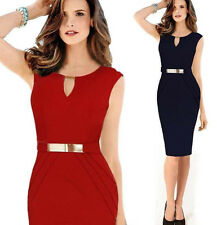 V-Neck Summer Casual Ladies Sleeveless Slim Fashion Party Cocktail Evening Dress