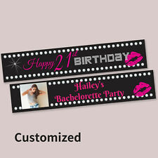 "18th 21st Party Decoration ""Happy Birthday""  Fabric Canvas Banner CUSTOMISED"