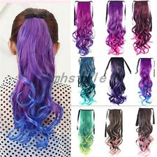 Women's Long Hair Color Gradient Color Gradient Tied Ponytail Wig