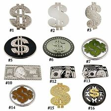Usa Currency Dollar Sign Super Power Belt Buckle Ice Out Hip Bling Antiqued New.