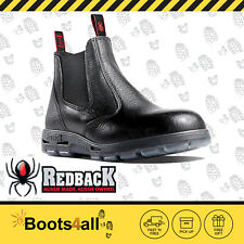 Redback Work Boots  Easy Escape Steel Toe Black Rambler Leather Slip On USBBL