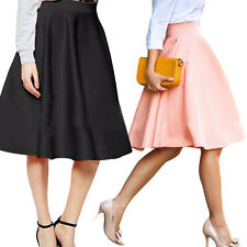 Women Vintage Stretch High Waist Plain Skater Flared Pleated Long Skirt Dress
