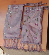 Matched Pair of Silk Drawstring Bags, with Cotton Lining, Staff End Covers