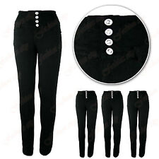Womens S5 Black Embroidery panel stretch  Skinny Legging Jegging size 8-16