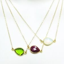 "Birthstone Necklace,22k Gold plated Sterling Silver Pear Bezel Gem(16-24"")"
