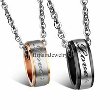 """Lovers  Couple Stainless Steel His Black Hers Rose """"Love"""" Pendant Chain Necklace"""