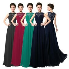 Chiffon Lace Long Plus Size Formal Prom Dresses Party Evening Cocktail Ball Gown