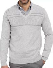 Perry Ellis Solid Ribbed Pullover Mens V-Neck Sweater $69 Alloy Heather XL & L