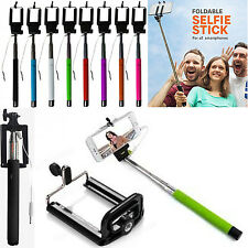 PINK SELFIE STICK MONOPOD WITH  AUX CABLE AUXILIARY FOR LATEST MOBILE PHONES