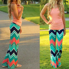 Lady Sexy Boho Stretch Casual High Waist Wide Leg Long Pants Palazzo Trousers AK