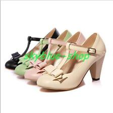 Womens Lolita Bowknot T-Strap Mary Janes Pumps Court Block Heels Shoes Plus Size