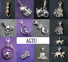 PICK YOUR CAT CHARM Clip On Cat Kitty Pussy Puss Love my Cats Pet Kitten Meow
