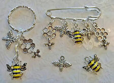 Bee keepers kilt pin brooch~Bee keyring~Bee Bookmark~enamel Bee bracelet charm