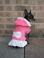 Pink Small Dog clothes Chihuahua coat Cute Yorkie dress 100% cotton  Size - S, M