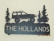 CUSTOM LIFTED JEEP CHEROKEE IN PINETREES MAILBOX TOPPER (YOUR NAME) METAL ART
