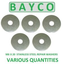 M6 X 20MM STAINLESS STEEL REPAIR WASHER A2 GRADE 304, PENNY MUDGUARD WASHER