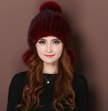 LIYAFUR Women's Real Genuine Knitted Mink Fur Winter Hat Cap with Fox Fur Balls