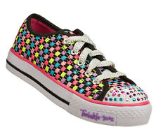 New Girls Skechers 10389L Twinkle Toes Shuffle Jump Outs Light Up Shoes (6-C11)