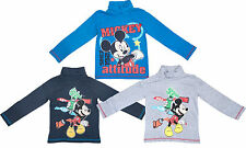 Boys Mickey Mouse Turtle Neck Long Sleeve T Shirt Kids Girls Age 3 4 6 8 Years