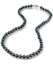 14K Gold 6.5-7.0mm Japanese Akoya Black Cultured Pearl Necklace - AAA Quality