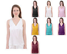 WOMENS PURE SILK SATIN SUITING VEST TANK TOP SLEEVELESS TEE CAMISOLE V NECK