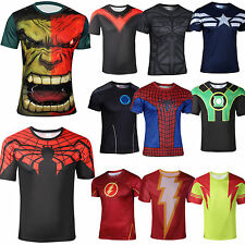 Marvel Superhero Costume Mens Short sleeve Sports T-Shirts Jersey Cycling Shirts
