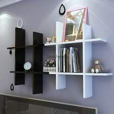 Home Wooden Wall Shelf Rack Display Storage 4PC/Set White/Black