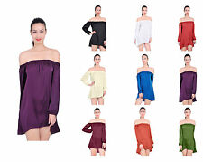 MARYCRAFTS WOMENS OFF SHOULDER LONG SLEEVE PEASANT STYLE TOP BLOUSE DRESS