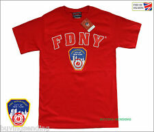 UK SELLER RED FDNY NEW YORK CITY LICENSED T SHIRT FIRE CAP DEPARTMENT FIREMAN
