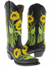 Women's Black Sunflower Leather Western Cowboy Boots Rodeo Summer Cowgirl