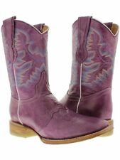 Womens Purple Mid Calf Leather Western Cowboy Boots Ankle Short Square Rodeo