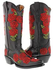 Women's Black Rosal Flowers Roses Leather Cowgirl Boots Western Cowboy Rodeo New