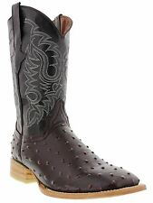 Mens black cherry ostrich quill western cowboy leather boots rodeo square new