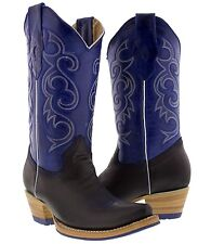 women's black blue western leather cowboy boots rodeo cowgirl ladies riding new