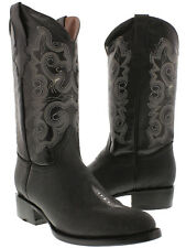 Mens Black Stingray Single Stone Exotic Leather Western Cowboy Boots Round Rodeo