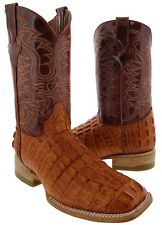 mens cognac brown crocodile alligator square western leather boots  tail cut