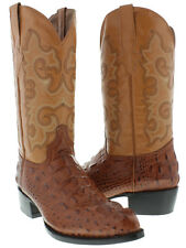 Mens Cognac Brown Alligator Crocodile Head Leather Western Cowboy Boots Rodeo