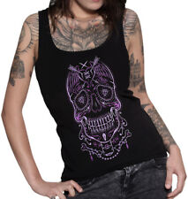 HYRAW | Vida Loca Womens Black Tank Top Skull Rockabilly Goth Punk Tattoo Art