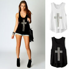 Womens Studded Cross Singlet Vest Tank Tops Sleeveless Shirt T-shirt Blouses