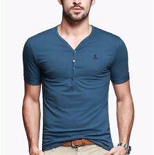 Fashion Mens Casual Henry T-shirt Short Sleeves Cotton Stretch Well 9 Colors 3XL