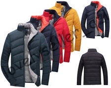 Men Casual Warm Cotton Padded Jacket Winter Parka Down Coat Outwear Stand Collar