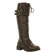 Leatherette Triple Buckle Lace Up Knee High Boot Brown Vegan