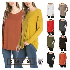 USA Women Casual Scoop Neck Dolman Long Sleeve Tunic Top Dropped Shoulder S~XL