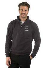 Embroidered Mens/Ladies Quarter Zip Sweat Jacket,Size XS to XXXL,Colour Graphite